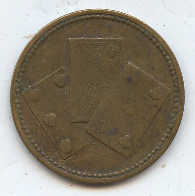 Great Britain Victoria Jeton (?) Token (#1019) Playing Cards on One Side.