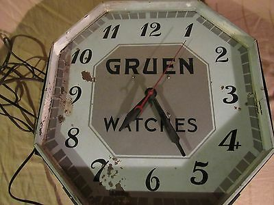 "VINTAGE ADVERTISING CLOCK ""GRUEN WATCHES"" WORKS!! No glass."