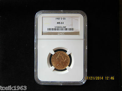 1907-D $5 Liberty Head Half Eagle Gold NGC MS61.