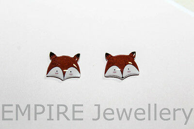 NEW!! 2 x Sweet Woodland Fox Face 12x10mm Flat Photo RESIN Cabochon Cameo Orange
