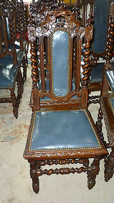 Set of 6 Heavily Carved Barley Twist Dining Chairs w/Blue Leather, Carved Seat F