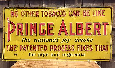 RARE Early Original PRINCE ALBERT Tobacco For Pipe Cigarette Tin Embossed Sign