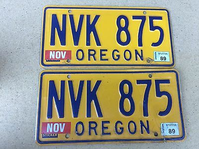 Oregon License Plate Pair - 1974 Base - NVK 875 - Yellow Black Blue - 1989 tags