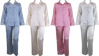 a1367d924a Satin Pyjamas Silk PJs Long Sleeve Long Pant Striped Sleepwear Plus Size 4  to 26