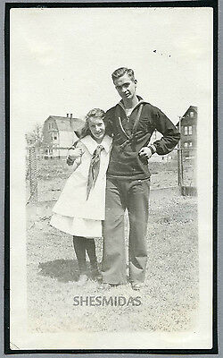#636 Cocky Sailor Man w The Little Girl, Vintage Gay Int Photo