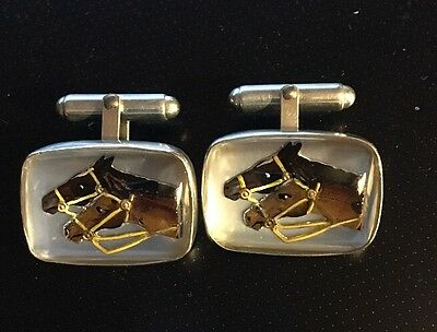VINCENT SIMONE STERLING 925 Cufflinks Crystal Horse Horses