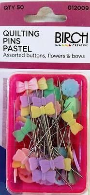 Birch Pastel Quilting Pins Box Of 50 Buttons Flowers Bows For Sewing Or Quilting