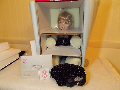 Marie Osmond Porcelain Doll Named Velvet 13 Inch Seated New in Box