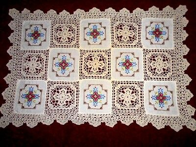Vintage embroidered DOILY beige cross stitch cotton doiley 47x31cm crocheted