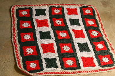 Afghan Granny Square Christmas Small 30 inches Red Green White Handmade
