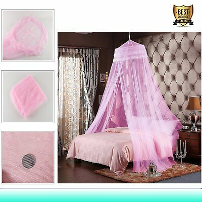 Hot Gorgeous Bedroom Full Size Fly Insect Mosquito Net Bed Canopy Round Pink