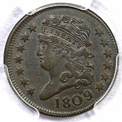 1809/6 C-5 PCGS VF 30 9 over inverted 9 Classic Head Half Cent Coin 1/2c