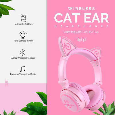 LED High Function Wireless Cat Ear Headphones Bluetooth Mindkoo Cute Headset