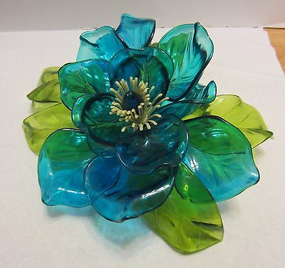 "Vtg Large Acrylic Plastic Flower Blue w Green Mid Century Corelli-Like 10"" Wired"