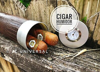 Travel Cigar Humidor Tube Leather Metal With Hygrometer Humidifier Brown Lizard