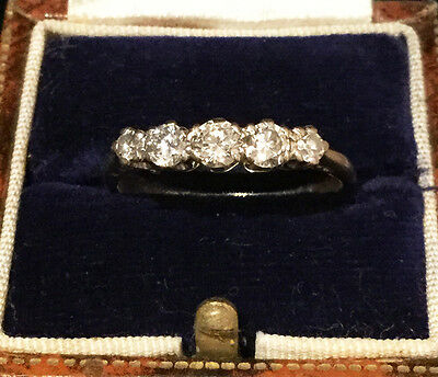 Art Deco 18ct, 18k, 750 Gold Diamond (0.60ct) five stone engagement ring.  C1930