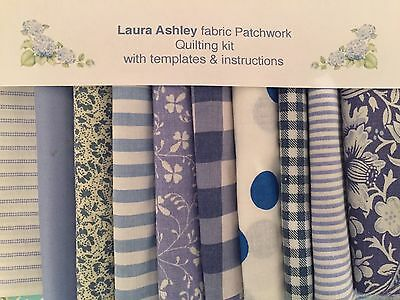LAURA ASHLEY SUMMER BLUE FABRIC 80 piece PATCHWORK QUILTING KIT + iNSTRUCTIONS
