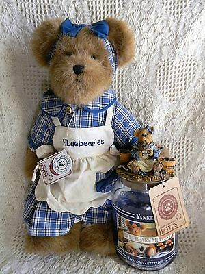 """Boyds 14"""" MUFFIN B. BLUEBERRY w/ CANDLE & TOPPER ~Yankee Candle Excl  3 pc set"""