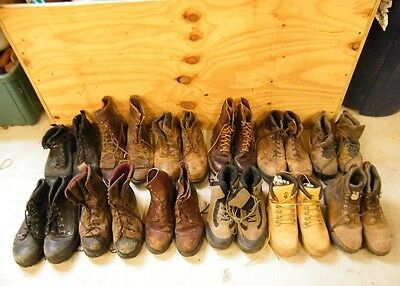 Wholesale Lot Of 12 Mens Worn Leather Hiking Lace-Up Work Boots