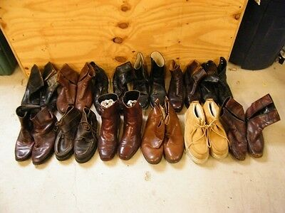 Wholesale Lot Of 12 Mens Vintage Worn Leather Ankle Zip-Dress Boots