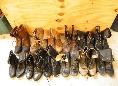 Lot 14 Pair Mens Vtg Ranch Worn Lacer Lace Up Roper Cowboy Western Craft Boots