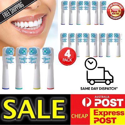 4 x Oral B Compatible Electric Toothbrush Replacement Brush Heads Dual Clean