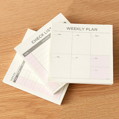 3Pcs  New Agenda Week Plan Diary Day-Planner Journal Record Notebook Stationery