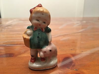 Vintage Figurine Little Girl with pig  Made in Occupied Japan