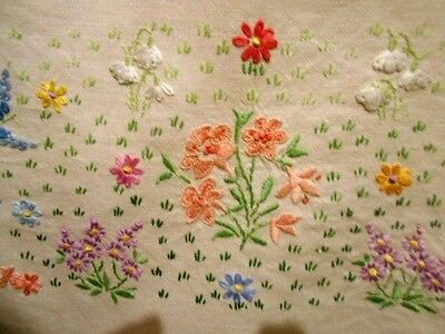 Vintage heavily hand embroidered TABLECLOTH ivory & flowers linen 105cm square