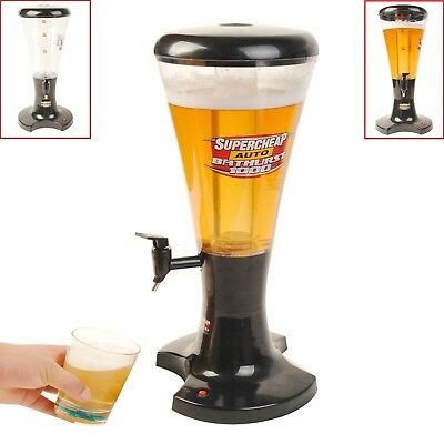 Draft Beer Dispenser Tower Portable Plastic LED Lights Beverage Drink Juice 3L