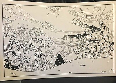 Yoda Attack of the Clones original art Ethen Beavers Clone Troopers