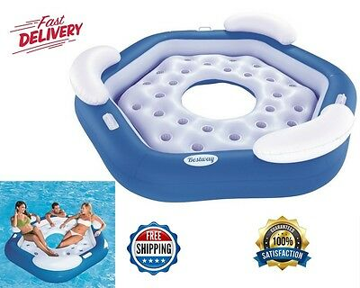 Inflatable Island 3-Person Pool Lake Floating Water Party Rafting Open Bottom