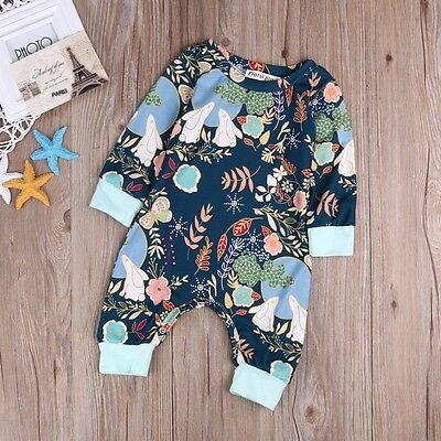 Newborn Baby Girls Floral Clothes Long Sleeves Bodysuit Romper Jumpsuit Outfit