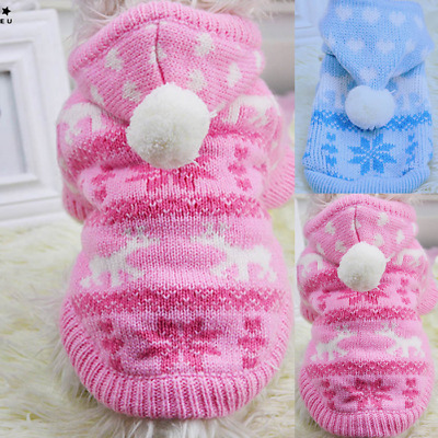 Pet Dog Puppy Cat Warm Winter Clothes Christmas Knit Hooded Hoodie Sweater Coat