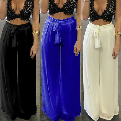 Top Quality Women Cotton Palazzo Baggy Pants Wide Leg High Waist Casual Trousers