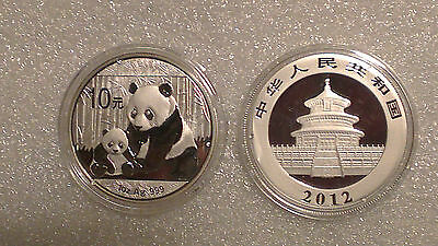2012 1 oz Silver Chinese Panda Coins (In Capsule)