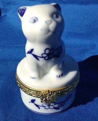 PORCELAIN CAT TRINKET BOX by Formalities by BAUM White/Blue with Gold trim