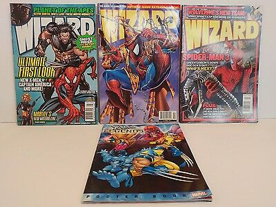 Wizard Comic Book Magazine Lot & Xmen Legends Poster Book
