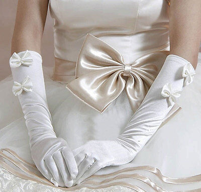 Classic Wedding 12 inch long bridal Ivory Prom Twin Bow elbow length Gloves