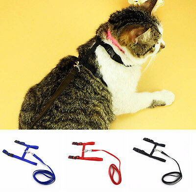 Pet Cat Puppy Adjustable Harness Collar Nylon Leash Lead Safety Walking Rope