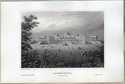 United States - Das Neue Capitol in Washington D.C. - Stich - Stahlstich um 1850