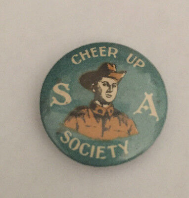 WW1 AIF Australia Button Day Badge Cheer Up S.A. Soldiers Patriotic Pinback Pin