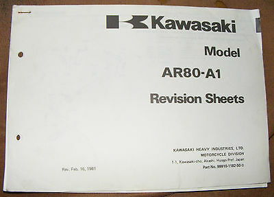 Kawasaki Ar80 A1 Revision Sheets Parts Catalogue Manual  (Part No. 99910-1182-50
