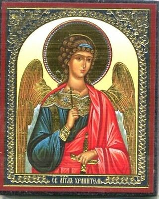 Russian Orthodox Church  Icon  Picture Wooden Base Guardian Angel Bless And Save