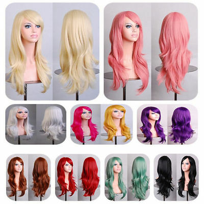 70cm Women Lady Anime Long Curly Wavy Synthetic Hair Party Cosplay Full Wig