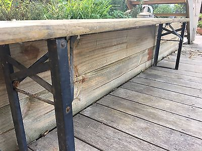 Industrial Vintage Rustic Wooden Bench Seat With Metal Folding Legs
