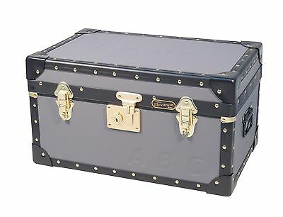 CHARCOAL Traditional British Mossman Made Boarding School Tuck Box Storage Trunk