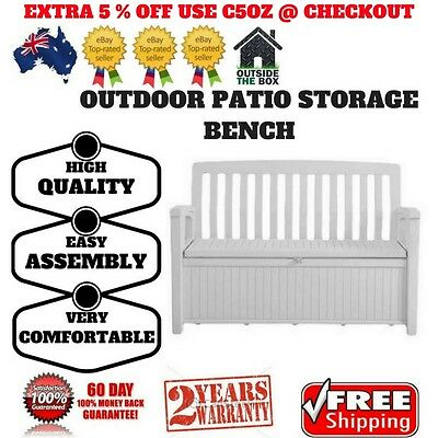 Patio Storage Bench Keter Outdoor Seat Garden Chair Box Lockable 3 Colours New