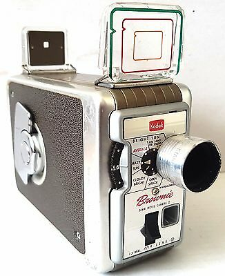 Vintage 1962 KODAK BROWNIE MOVIE CAMERA Model 2 13mm f/1.9 with Leather Case