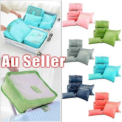 6 Pcs/Set Square Travel Home Luggage Storage Bags Clothes Organizer Pouch Case B